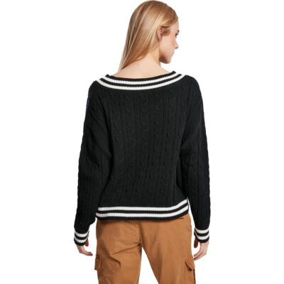 Bluza Urban Classics Ladies Short V-Neck College Negru 1