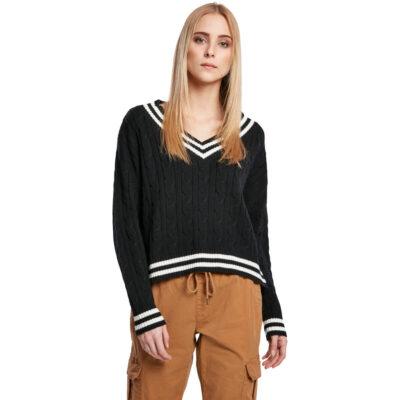 Bluza Urban Classics Ladies Short V-Neck College Negru