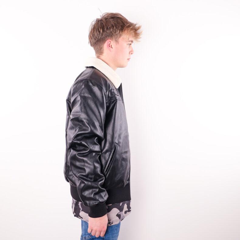 Geaca Karl Kani Retro Fake Leather Black 2