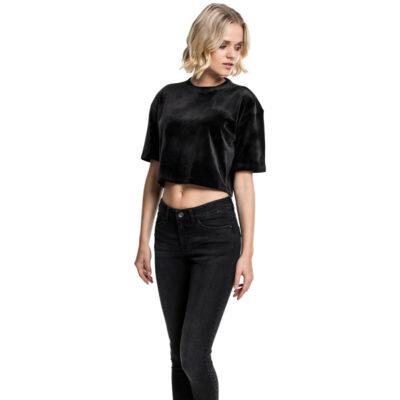 Bluza Urban Classics Velvet Short Kimono Black