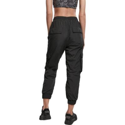 Leggings Urban Classics High Waist Crinkle Nylon Cargo Black