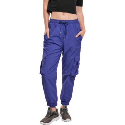 Leggings Urban Classics High Waist Crinkle Nylon Cargo Bluepurple