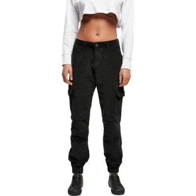 Pantaloni Urban Classics High Waist Cargo Corduroy Black 3