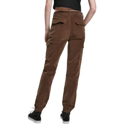 Pantaloni Urban Classics High Waist Cargo Corduroy Olive 1