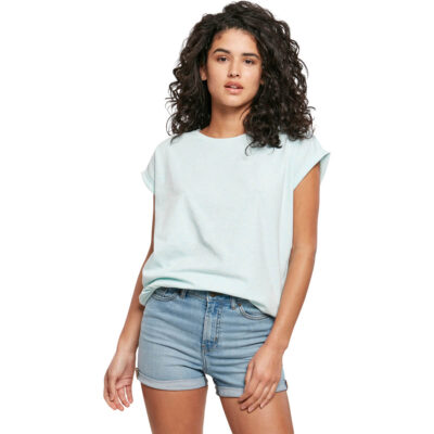 Tricou Urban Classics Color Melange Extended Shoulder Aqua Melange