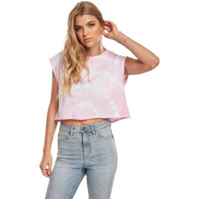 Tricou Urban Classics Short Tie Dye Barbie Pink