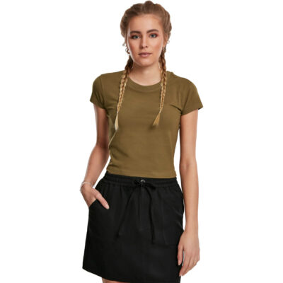 Tricou Urban Classics Stretch Jersey Cropped Summer Olive 3