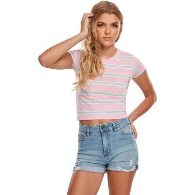 Tricou Urban Classics Stripe Cropped Pink