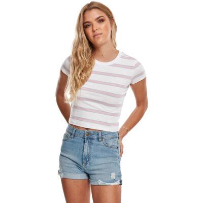 Tricou Urban Classics Stripe Cropped White