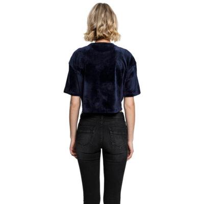 Tricou Urban Classics Velvet Short Kimono Navy