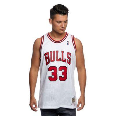 Swingman Jersey Mitchell & Ness Chicago Bulls #33 Scottie Pippen white red