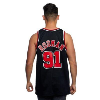 Swingman Jersey Mitchell & Ness Chicago Bulls #91 Dennis Rodman black red 1