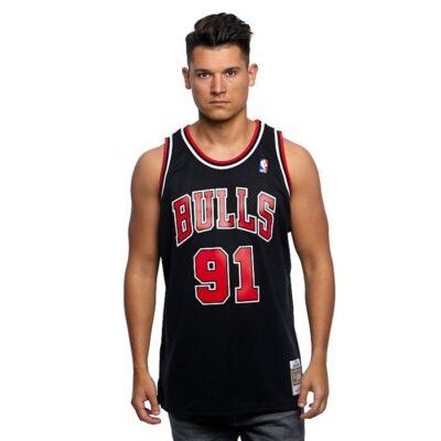 Swingman Jersey Mitchell & Ness Chicago Bulls #91 Dennis Rodman black red