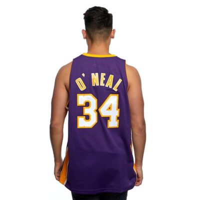 Swingman Jersey Mitchell & Ness Los Angeles Lakers #34 Shaquille O'Neal purple 1