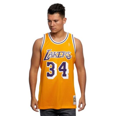Swingman Jersey Mitchell & Ness Los Angeles Lakers #34 Shaquille O'Neal yellow