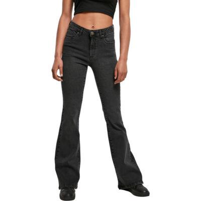 Pantaloni Urban Classics High Waist Flared Denim Black