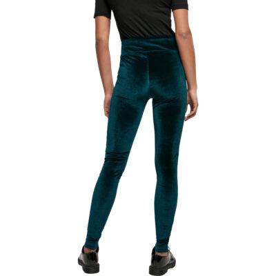 Pantaloni Urban Classics High Waist Velvet Teal 1