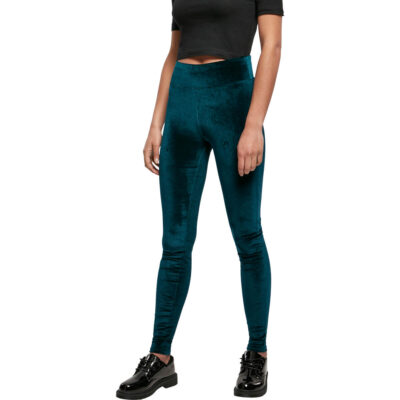 Pantaloni Urban Classics High Waist Velvet Teal
