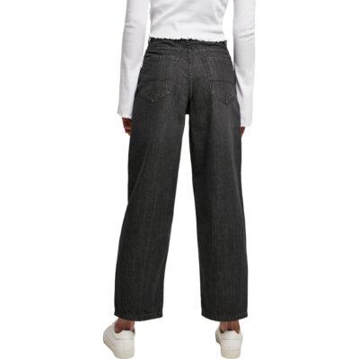 Pantaloni Urban Classics High Waist Wide Leg Cropped Denim Black 1